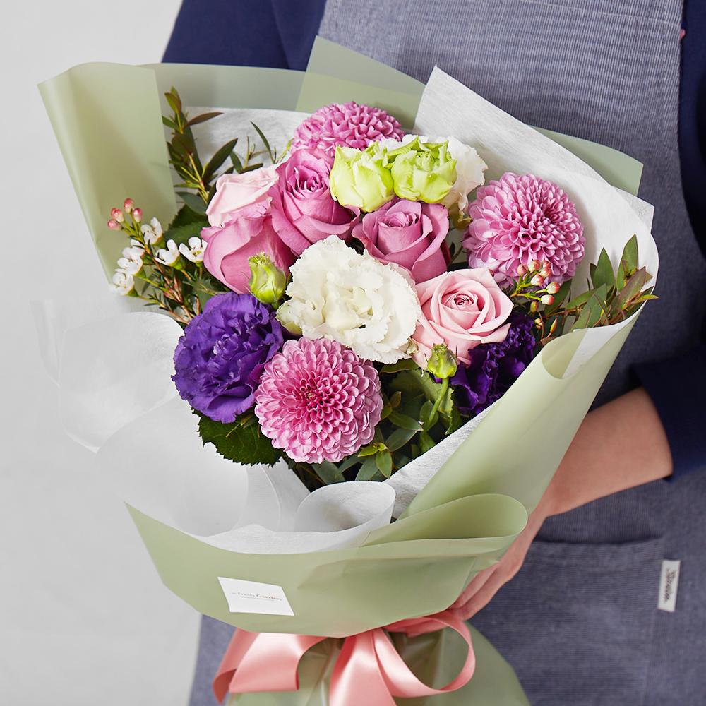 프레시가든 생화 로맨틱 꽃다발 M, 올리브그린