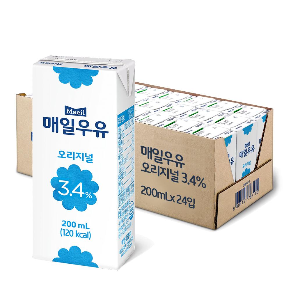 매일우유 오리지널 멸균, 200ml, 24팩