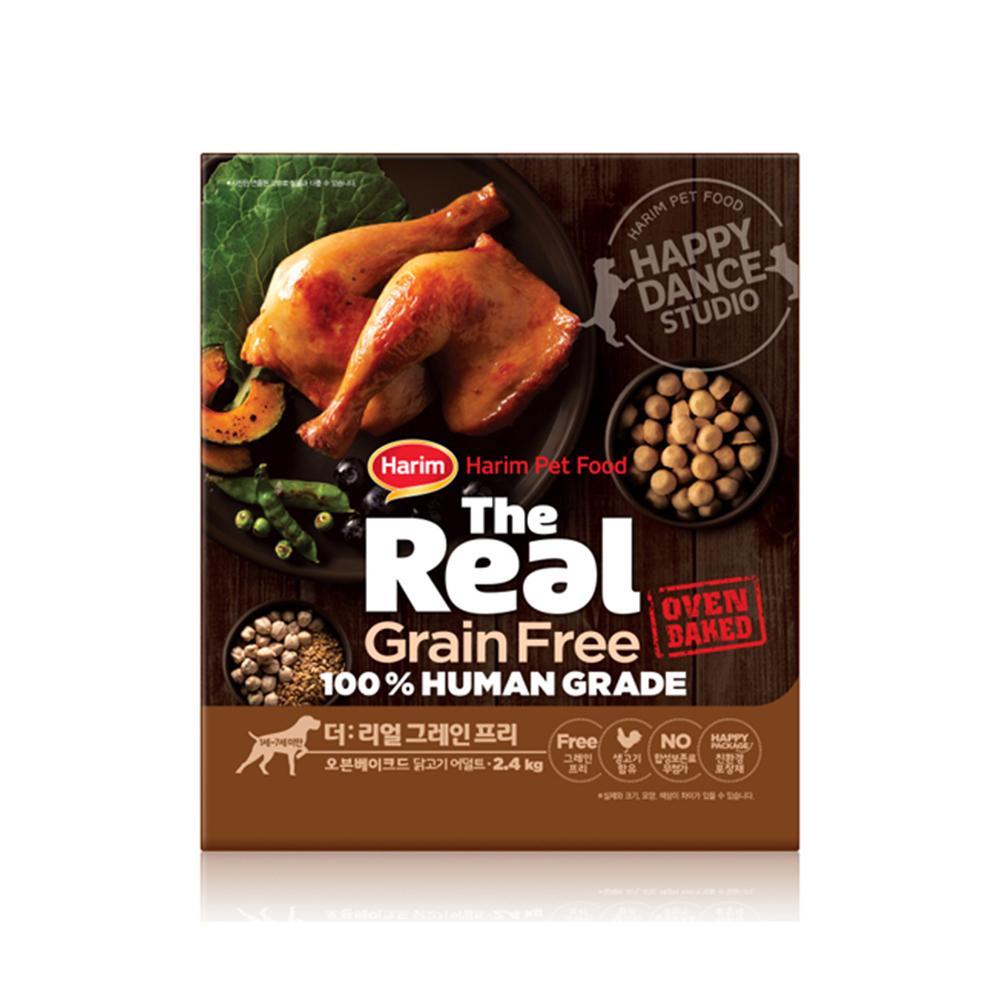 하림 펫푸드 어덜트 소고기 더리얼 그레인프리 오븐베이크드 강아지 사료, 닭, 2.4kg