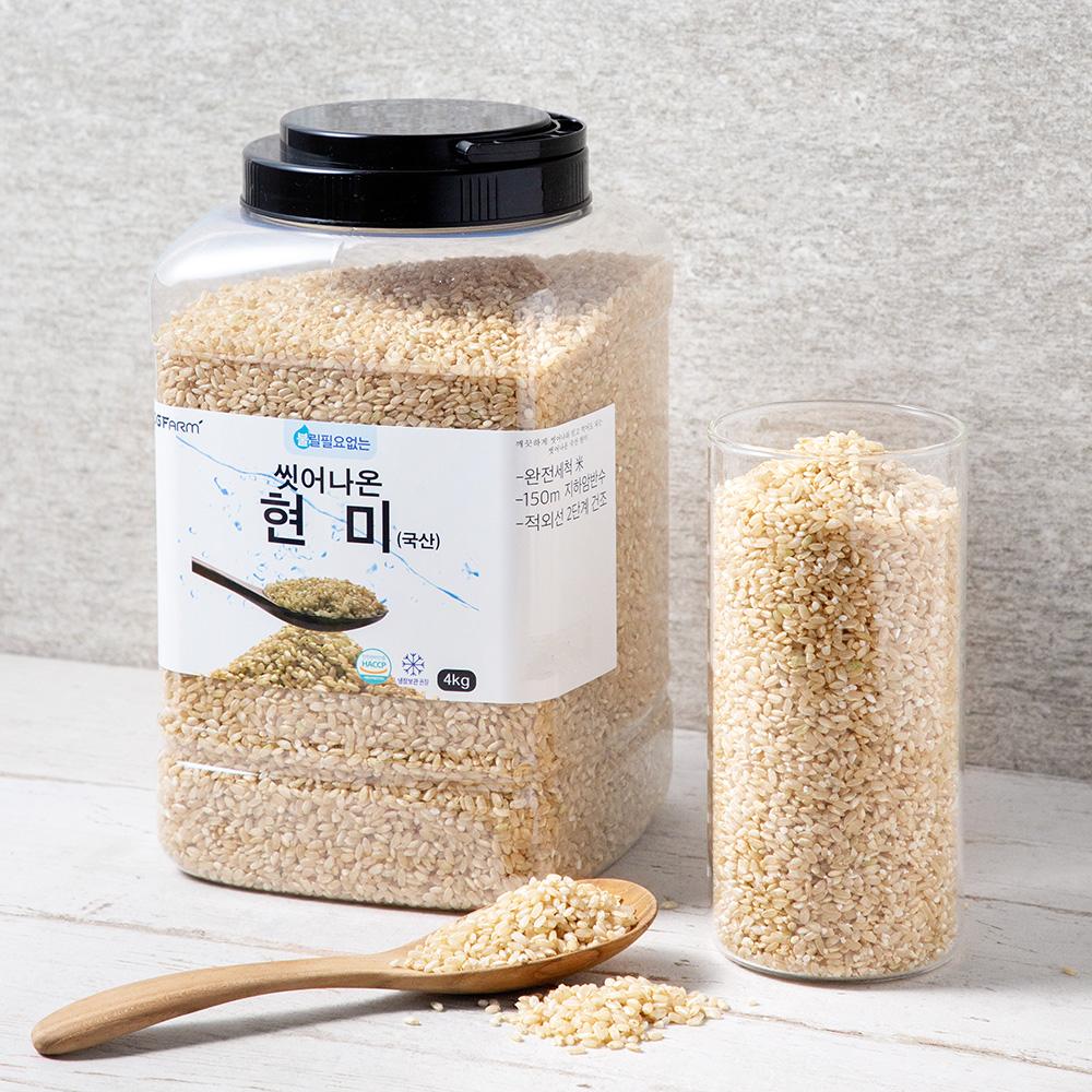 씻어나온 현미, 4kg, 1통