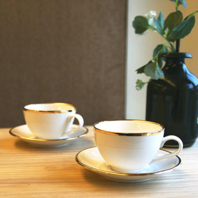 벨루즈까사 골드림 라운드 커피잔 2인조 세트, 혼합 색상, 1세트