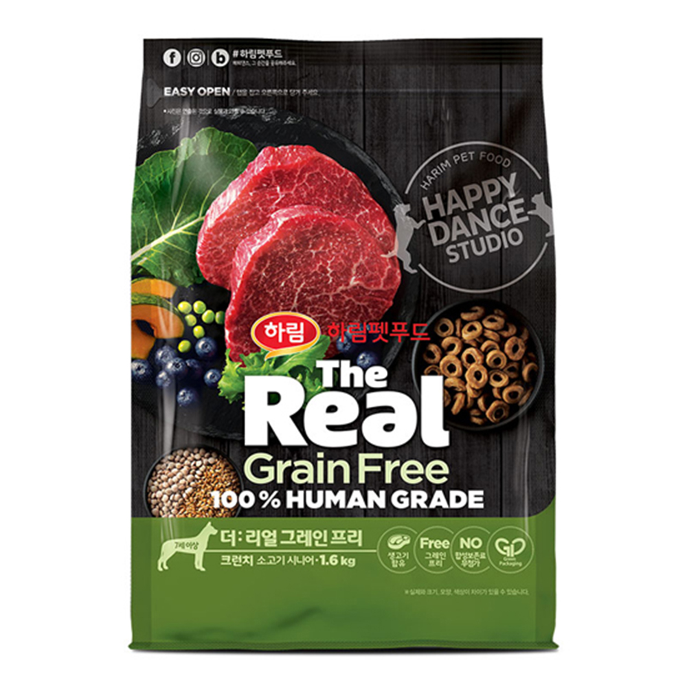 하림펫푸드 더리얼 그레인프리 크런치 시니어 강아지 사료, 소, 1.6kg
