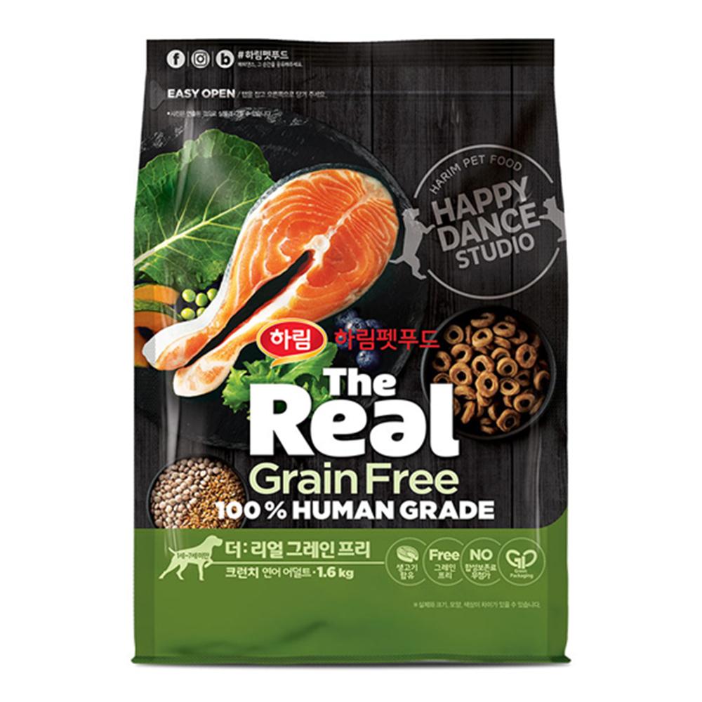 하림펫푸드 더리얼 그레인프리 크런치 어덜트 강아지사료, 연어, 1.6kg