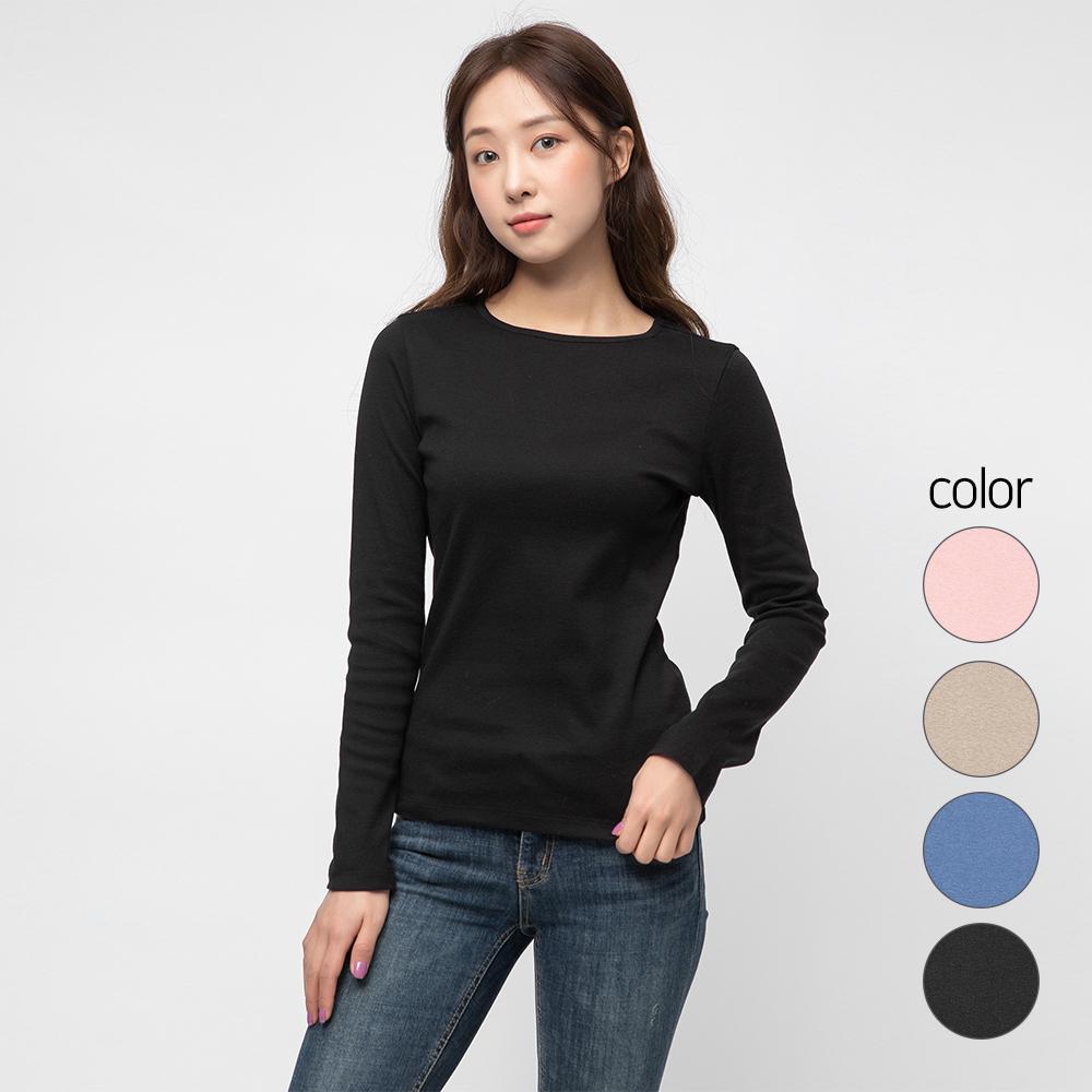 캐럿 여성용 데일리 스탠다드 핏 긴팔 립 티셔츠