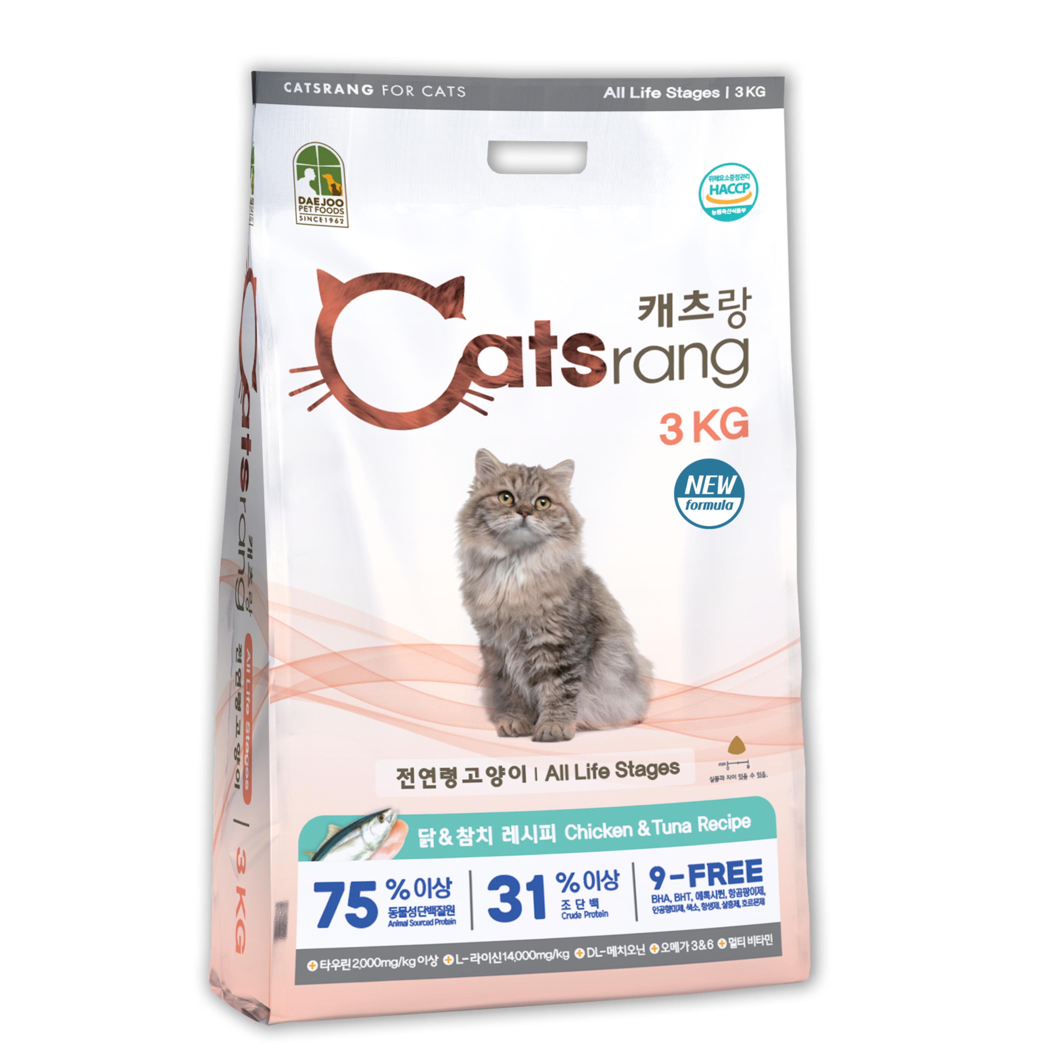 캐츠랑 NEW 전연령 올라이프 고양이 건식사료, 닭 + 참치, 3kg