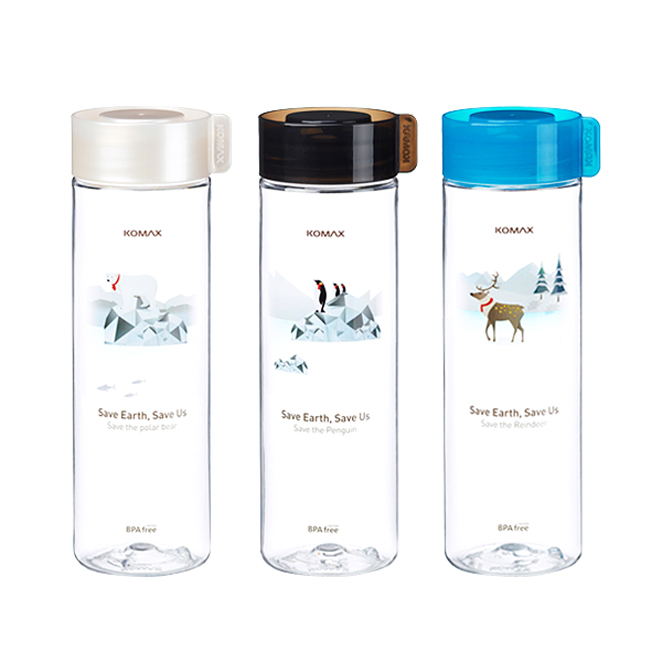 코멕스 지구를 위한 트라이탄 물병 3종, 펭귄(블랙), 북극곰(화이트), 순록(아쿠아블루), 550ml