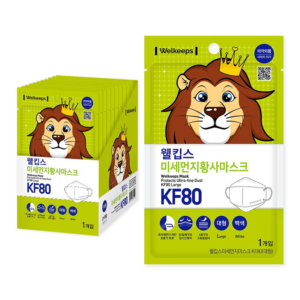 웰킵스 미세먼지황사마스크 대형 KF80, 1매, 25개입