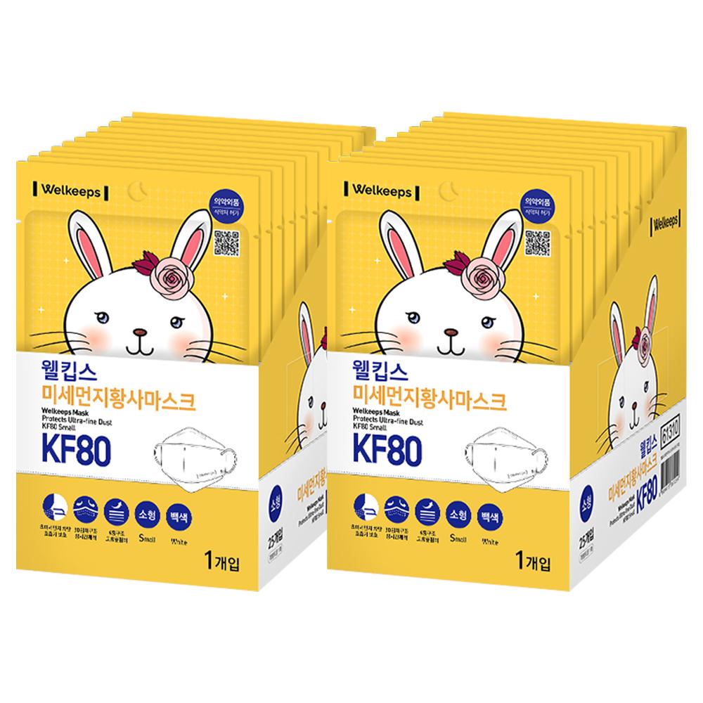 웰킵스 미세먼지황사마스크 KF80소형, 1매, 50개입