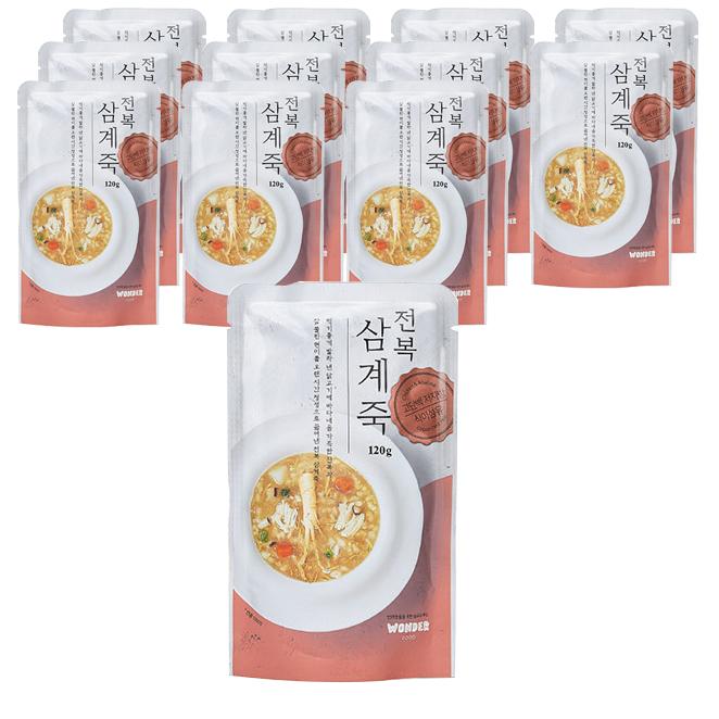 원더푸드 반려동물용 죽 120g  전복 + 닭 혼합맛  12개더디앤씨 건강 강아지간식 파우치 100g  닭백숙죽  10개PN풍