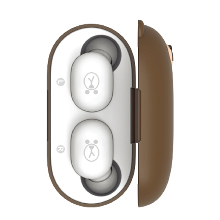 라인프렌즈 TWS 블루투스 무선 이어폰, LFT01BR, 브라운