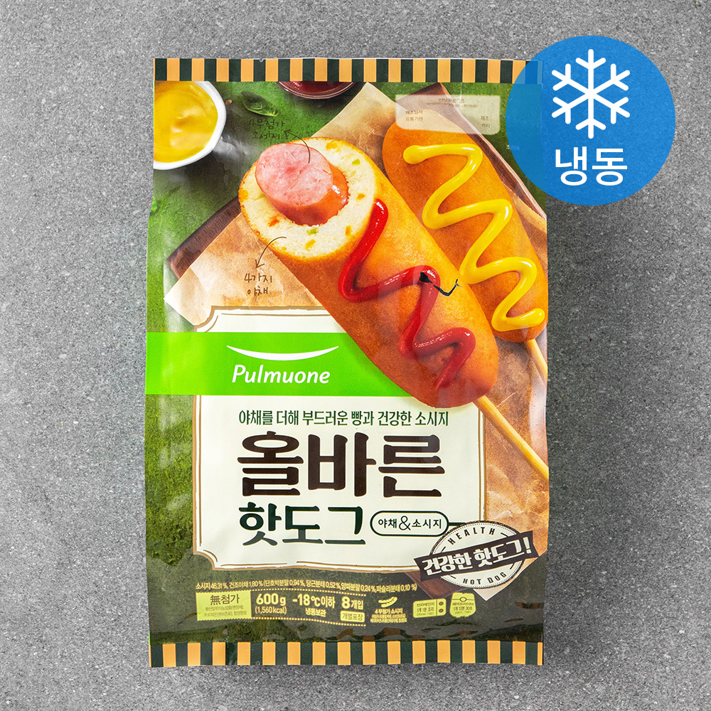 풀무원 올바른 핫도그 개별 (냉동), 75g, 8개입