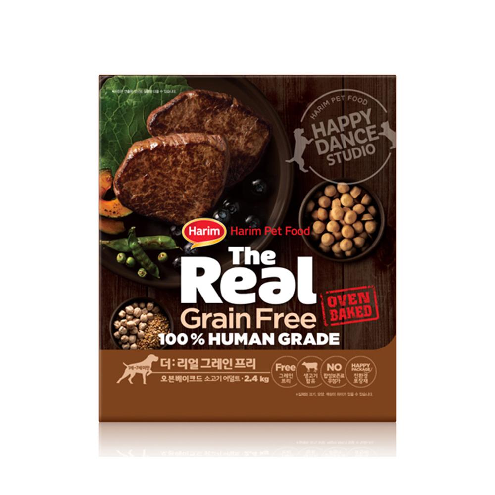 하림 펫푸드 어덜트 소고기 더리얼 그레인프리 오븐베이크드 강아지 사료, 소, 2.4kg