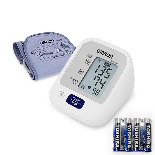 오므론 상완식 자동전자 혈압계 + AA건전지 4p, HEM-7121, 1개