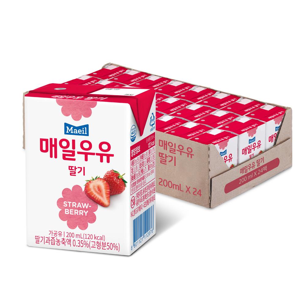 매일유업 멸균우유 딸기, 200ml, 24개, 딸기우유24팩