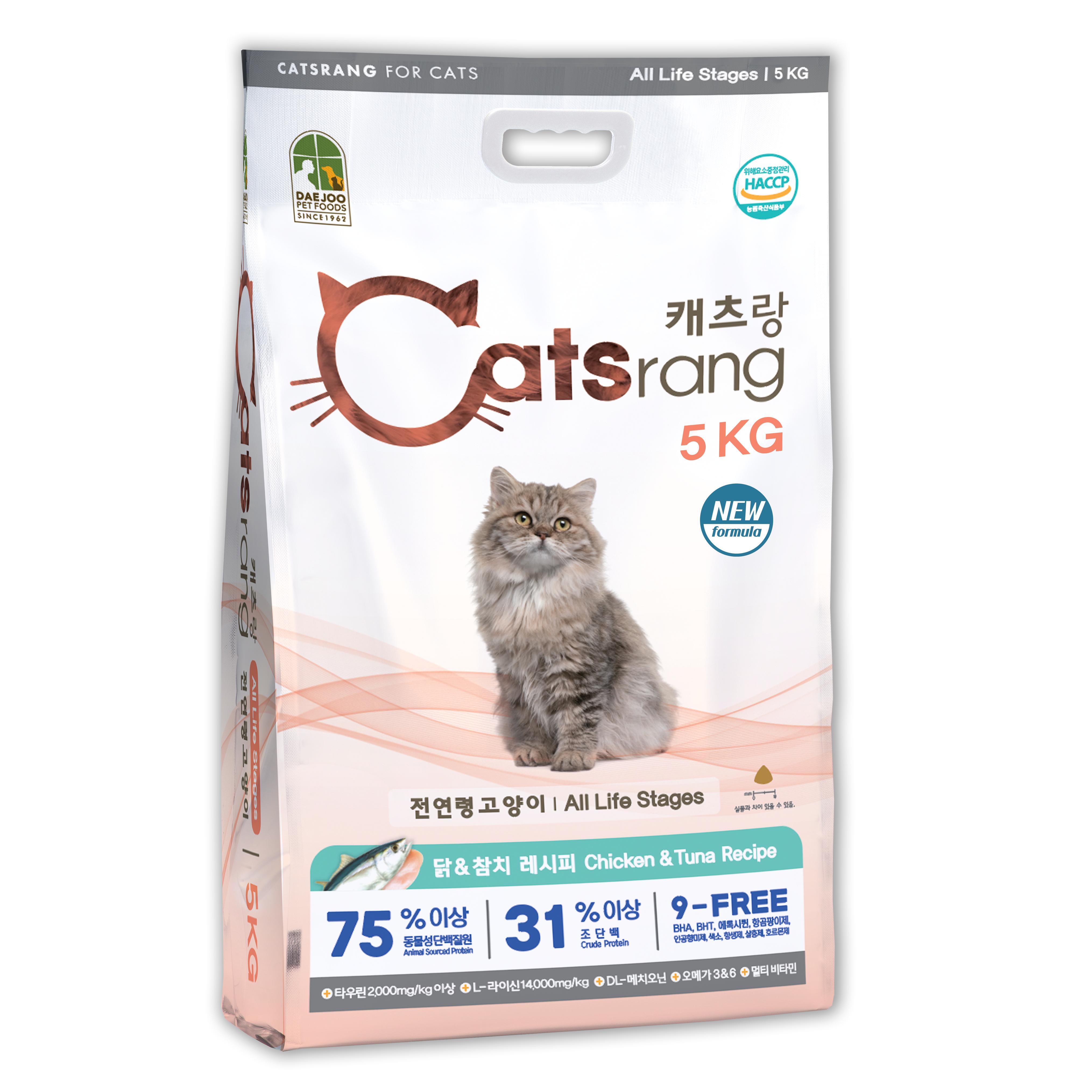 캐츠랑 NEW 전연령 올라이프 고양이 건식사료, 닭 + 참치, 5kg