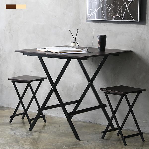 까사마루 오드리 접이식 테이블 + 의자 2p 세트, 브라운
