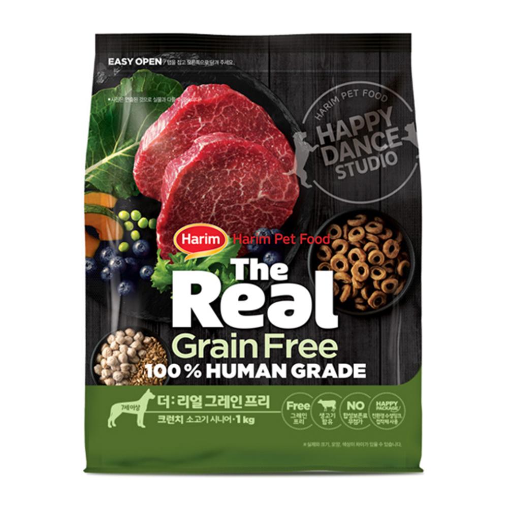 하림펫푸드 더리얼 그레인프리 크런치 시니어 강아지 사료, 소, 1kg