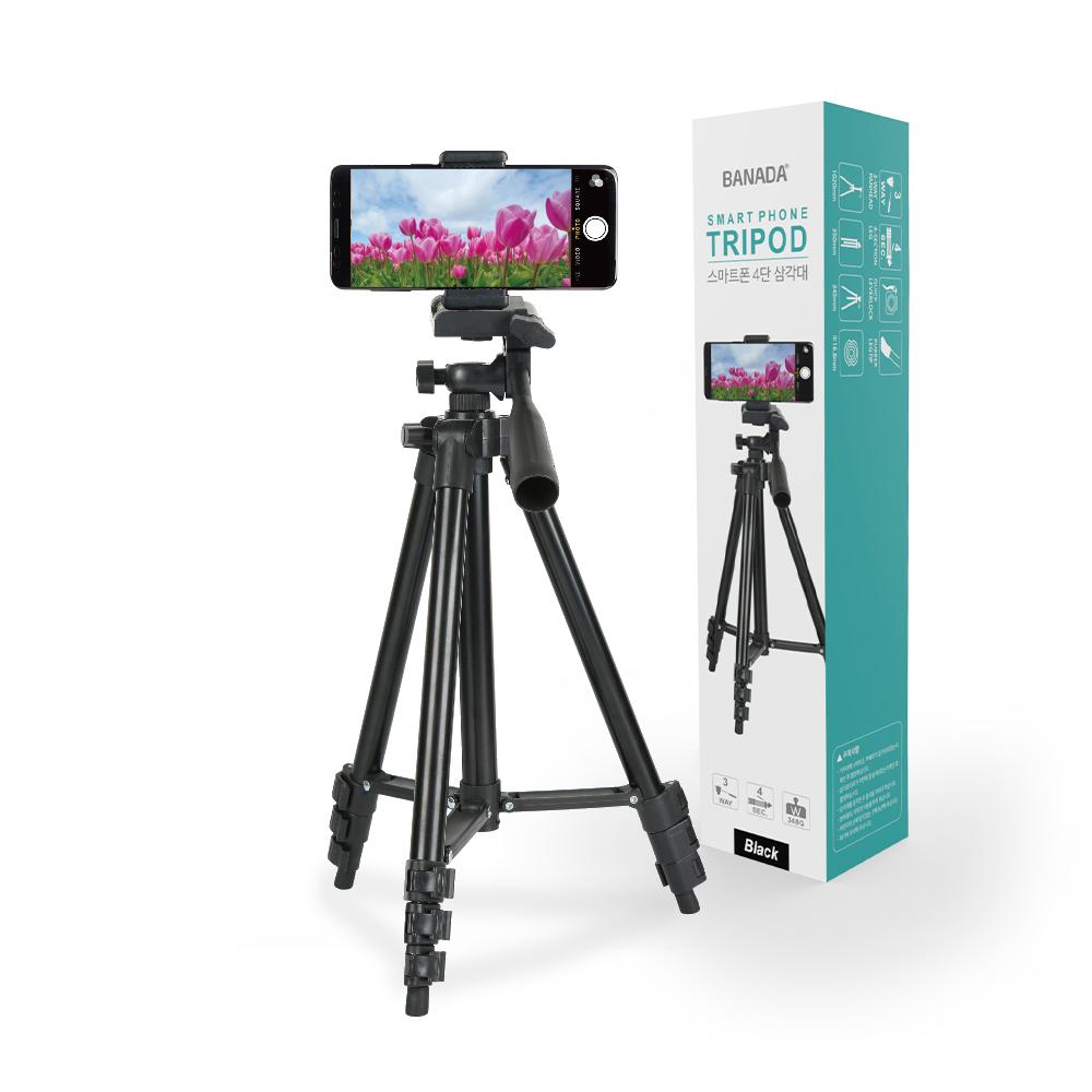 바나다 스마트폰 4단 삼각대, BND-TP4001(블랙)