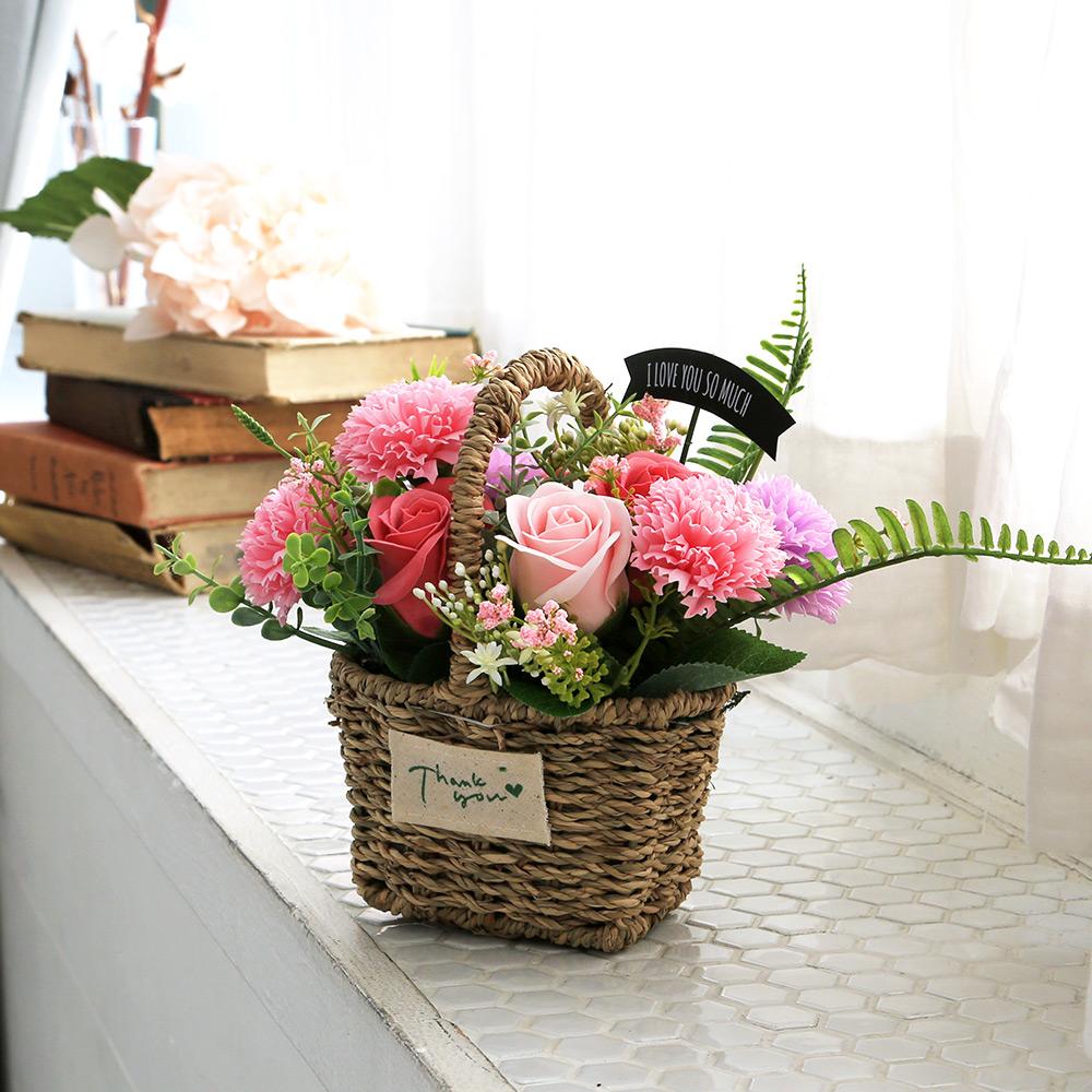 조아트 비누꽃 로즈마리 카네이션 바구니, 핑크
