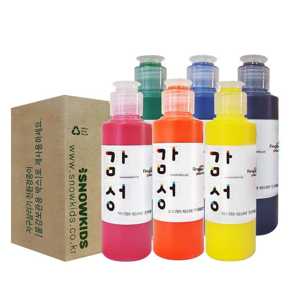 스노우키즈 감성물감 색감교육용 핑거페인트, 140ml, 6색