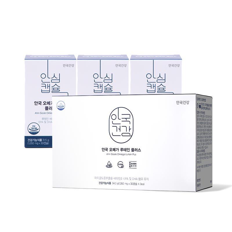 안국건강 오메가 루테인 플러스, 30캡슐, 3개