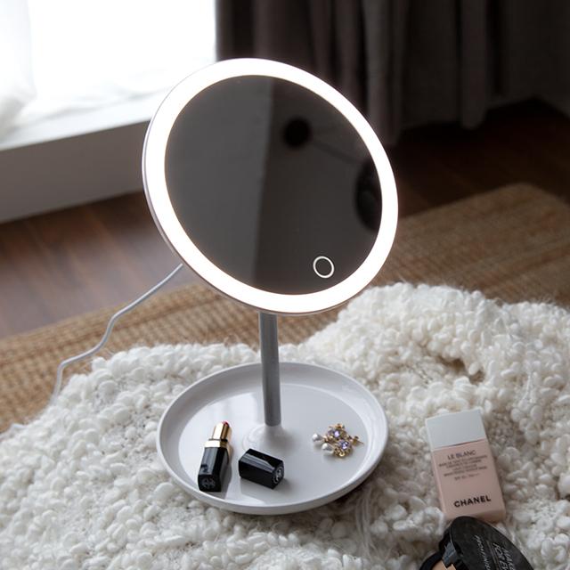 오아 LED 써클 조명화장 거울 탁상 메이크업 화장대 책상거울, 화이트