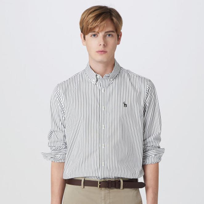 헤지스 남성용 버튼 다운 면 스트라이프 긴팔 캐주얼 셔츠