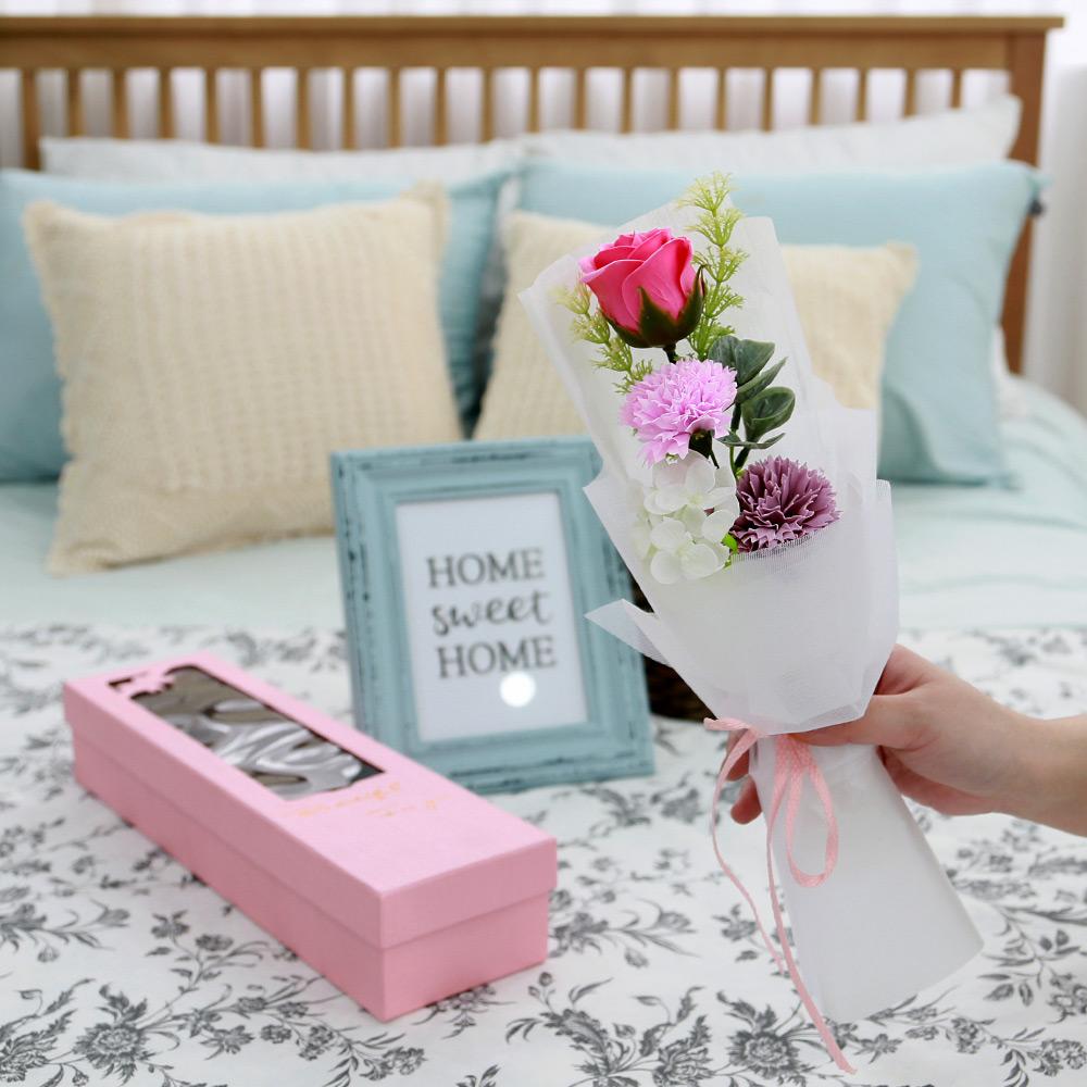 조아트 로즈 카네이션 박스 + 브로치, 핑크