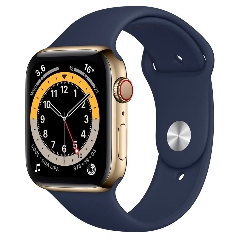 [애플워치] Apple 워치 시리즈 6 LTE/GPS 44mm 최신형, MJXM3KH/A, Gold Stainless(Case) + Deep Navy(Band) - 랭킹1위 (913260원)