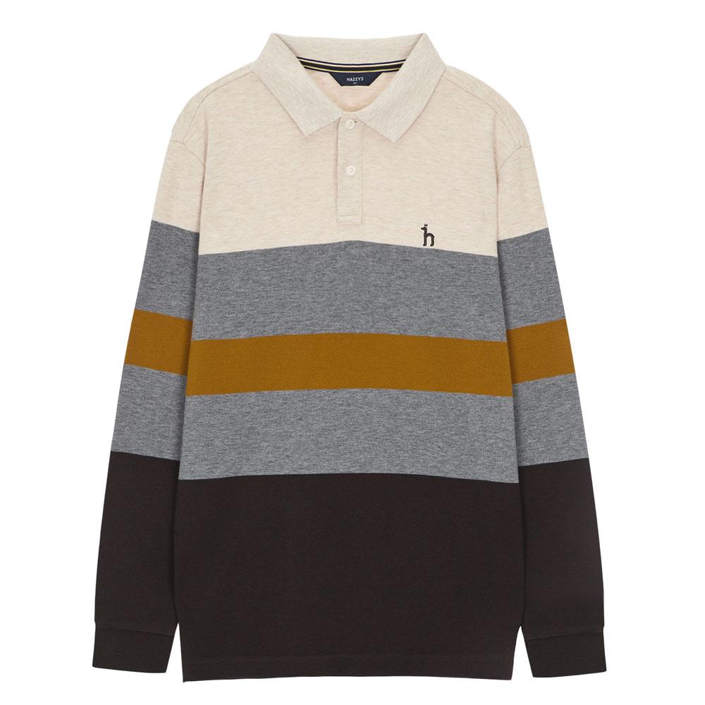 헤지스 남성용 컬러 블록 면혼방 긴팔 폴로 티셔츠