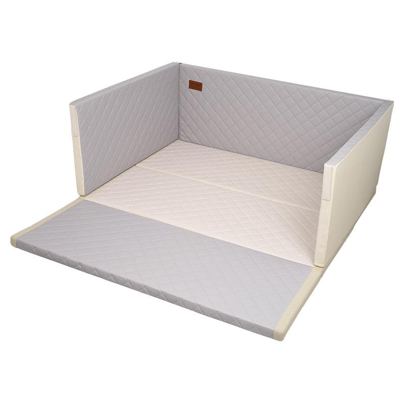 맘마키즈폴더 퀼팅 범퍼 침대, 그레이 + 크림
