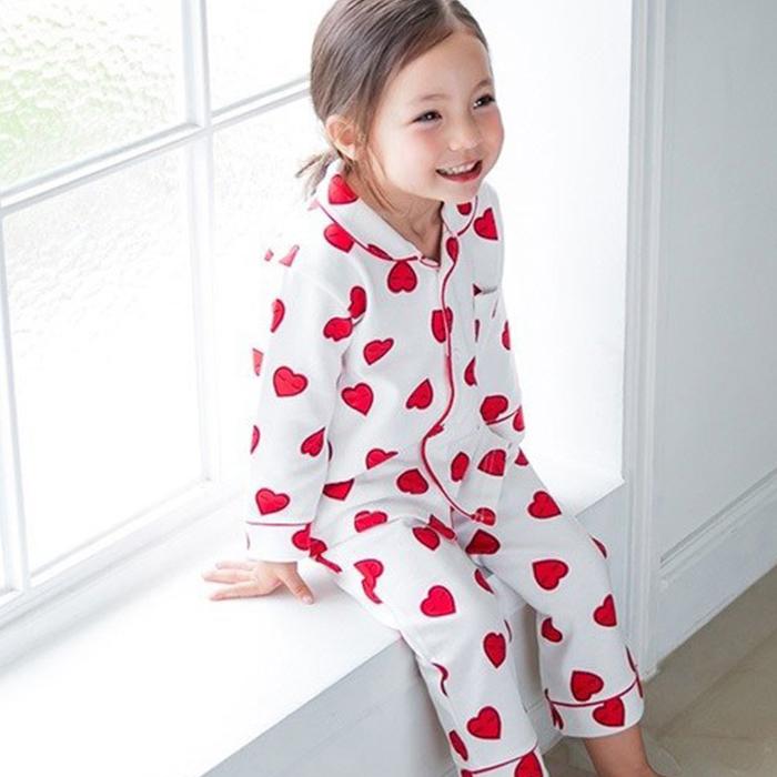 아이꼬 여아용 슬립하트 잠옷 세트