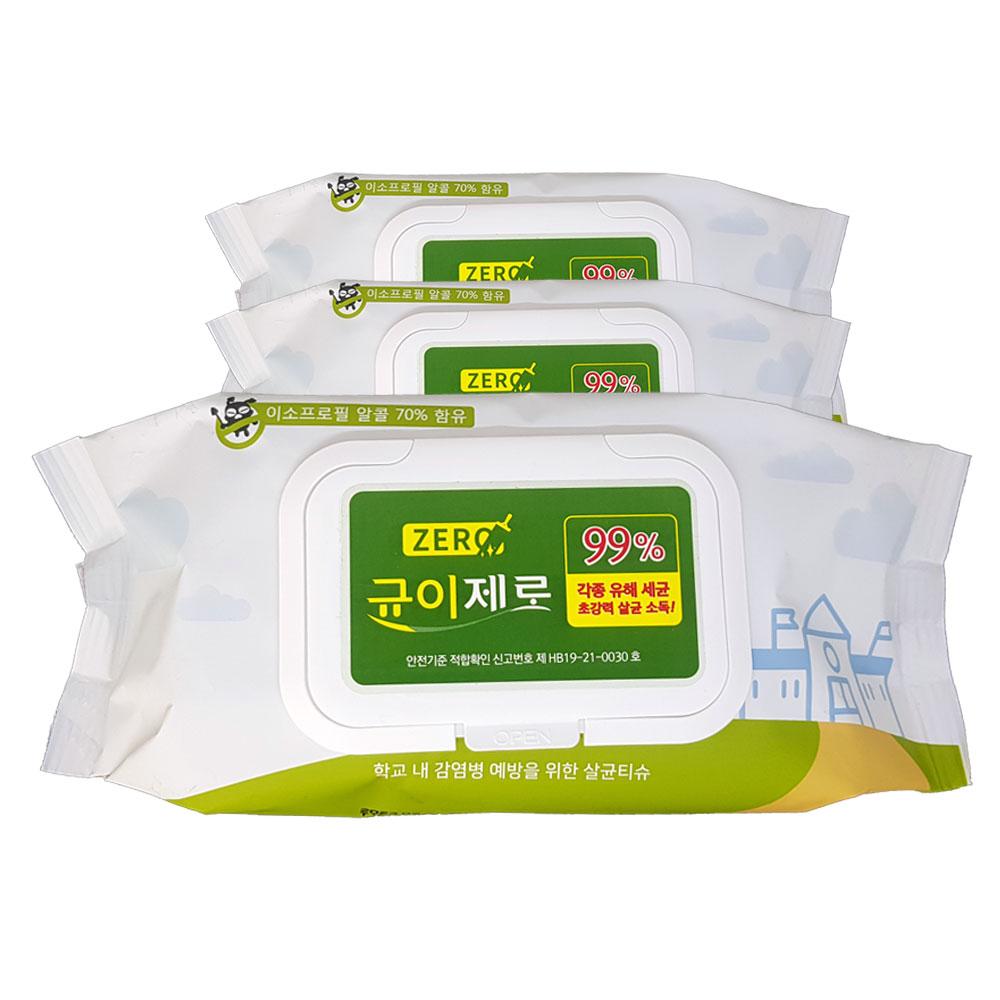 균이제로 살균 소독 티슈, 75매, 3팩