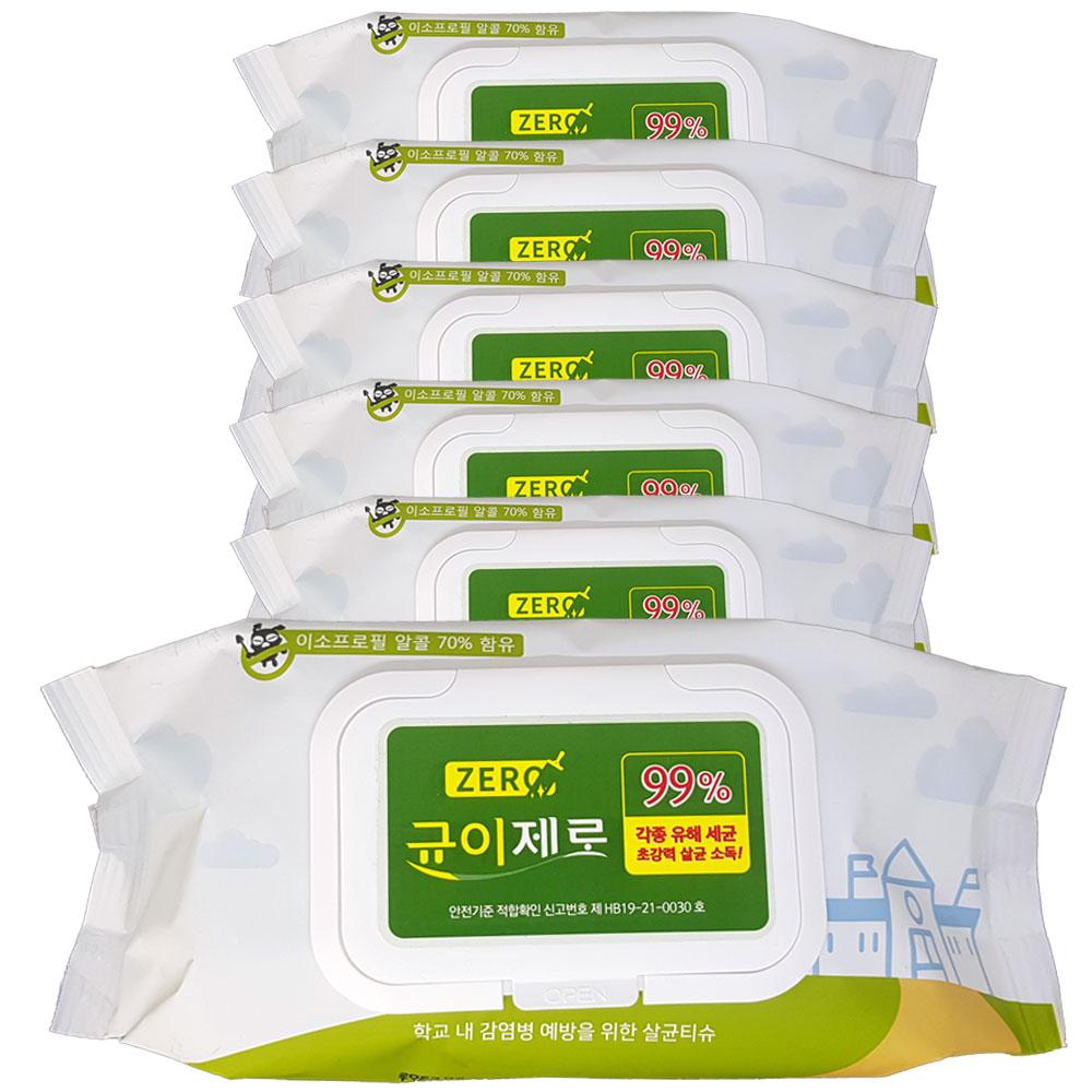 균이제로 살균 소독 티슈, 75매, 6팩