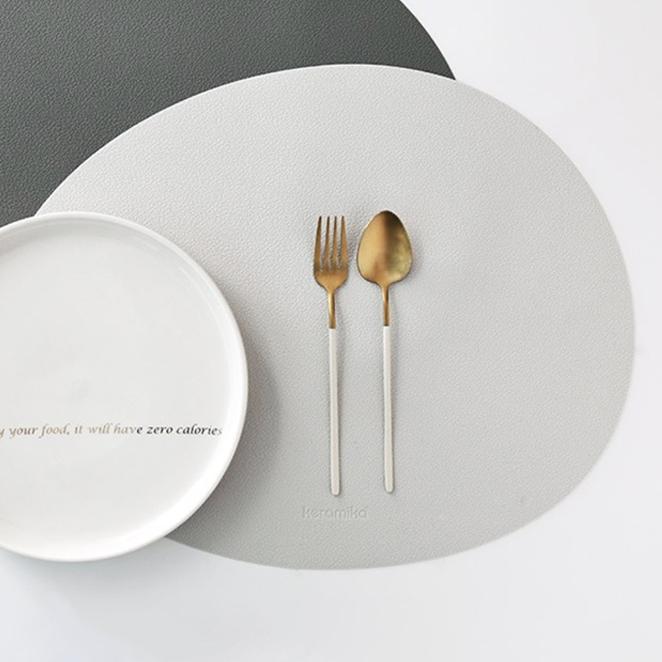 케라미카 실리콘 조약돌 식탁매트, 그레이, 430 x 330 mm