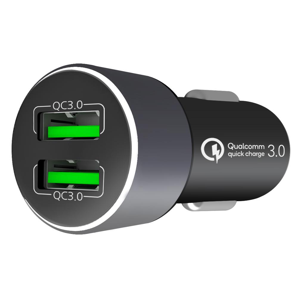 홈플래닛 퀄컴 정품칩 QC3.0 차량용 시거잭 고속충전기, 메탈실버, FP6601Q-2(2포트)