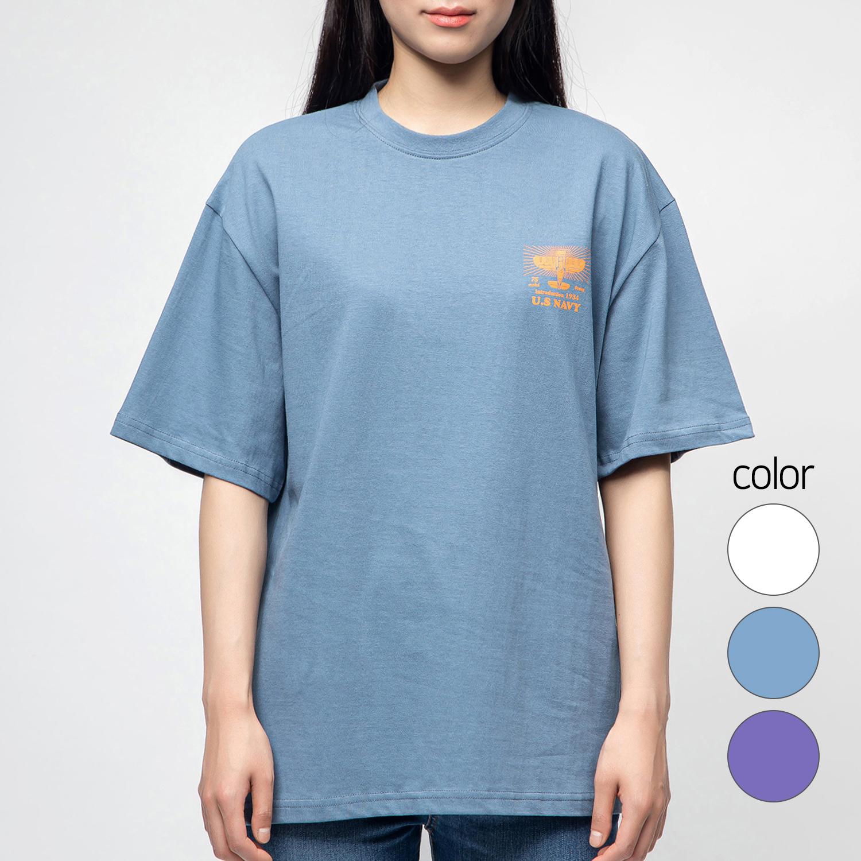 캐럿 남녀공용 그래픽 반팔 티셔츠 유에스네이비, 딥블루