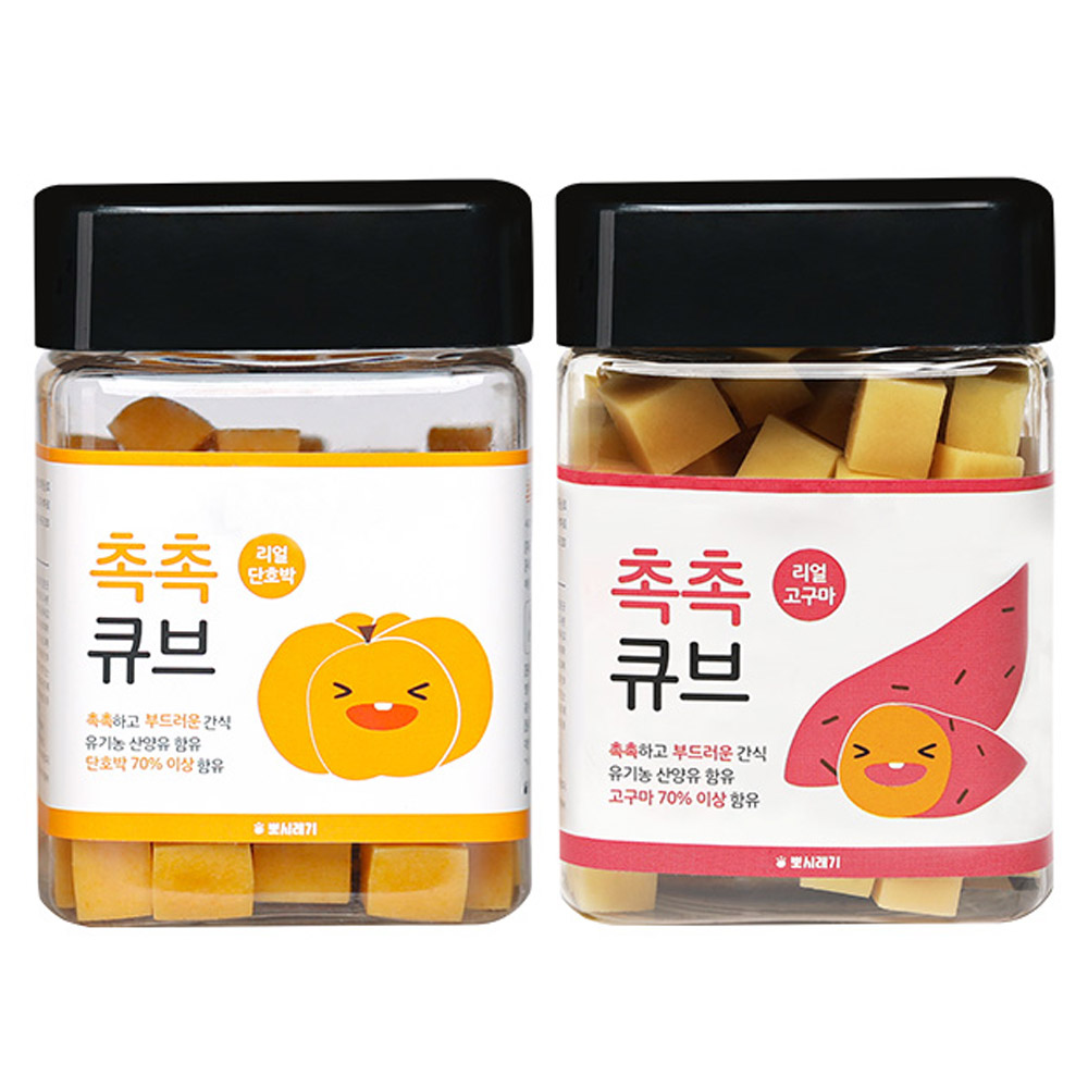 뽀시래기 촉촉큐브 강아지 간식 세트, 단호박, 고구마, 1세트