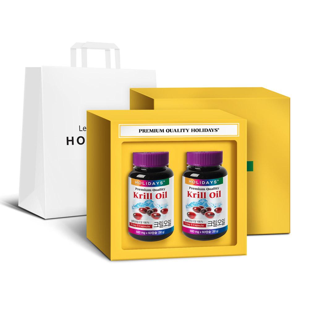 홀리데이즈 프리미엄 크릴오일 선물세트 4개월분 + 쇼핑백, 60캡슐, 2개