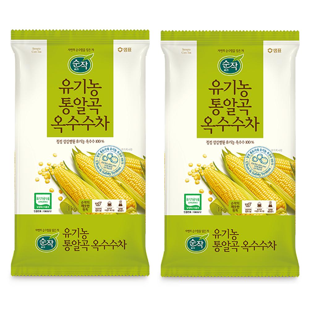 순작 유기농 통알곡 옥수수차, 1kg, 2개