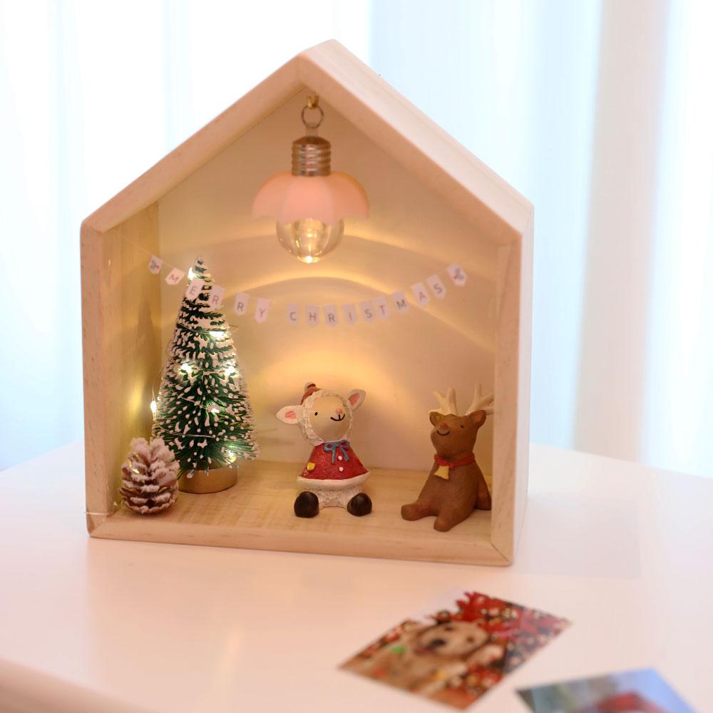 이플린 크리스마스 원목 우드집 트리 + 선물상자 풀세트, 혼합색상