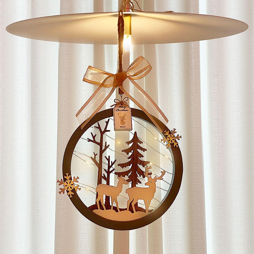 이플린 크리스마스 벽트리 원형 사슴 가랜드 + 줄조명, 혼합색상