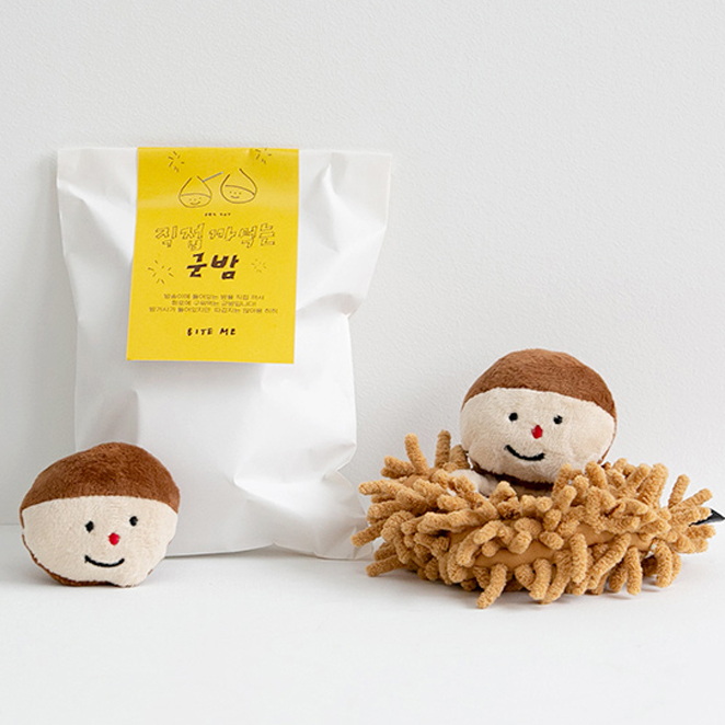바잇미 강아지 노즈워크 군밤 장난감 15 x 7 cm, 혼합색상, 1개