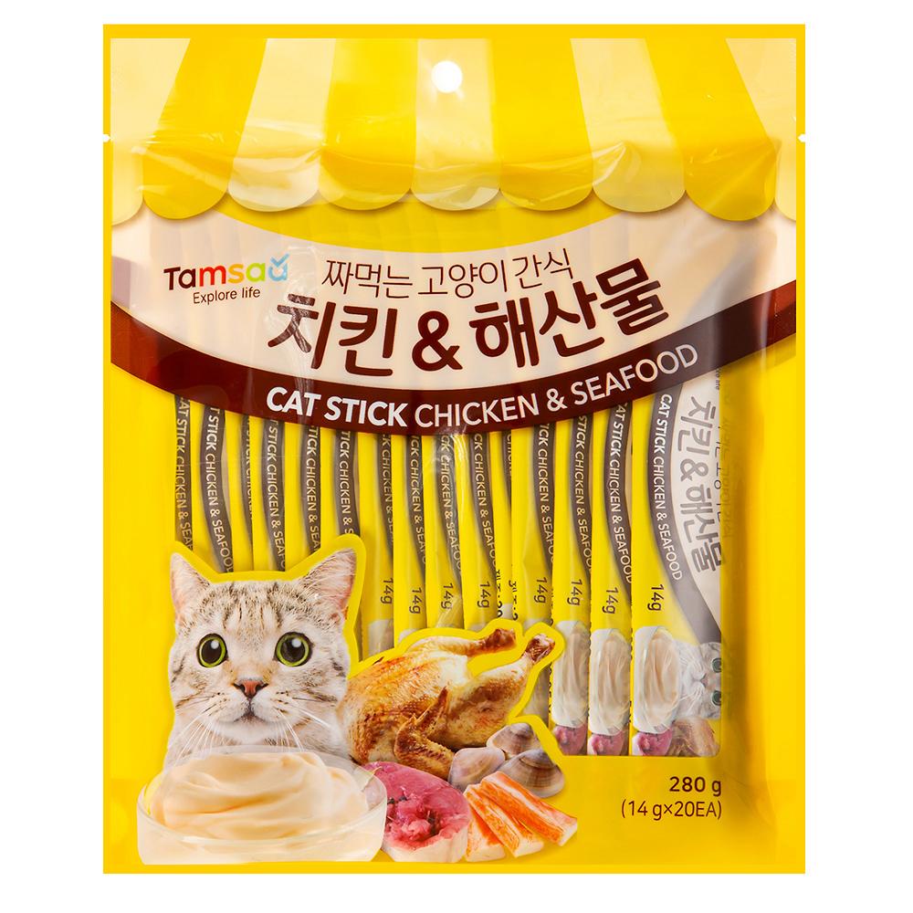 쿠팡 브랜드 - 탐사 짜먹는 고양이간식, 치킨 + 해산물 혼합맛, 1개