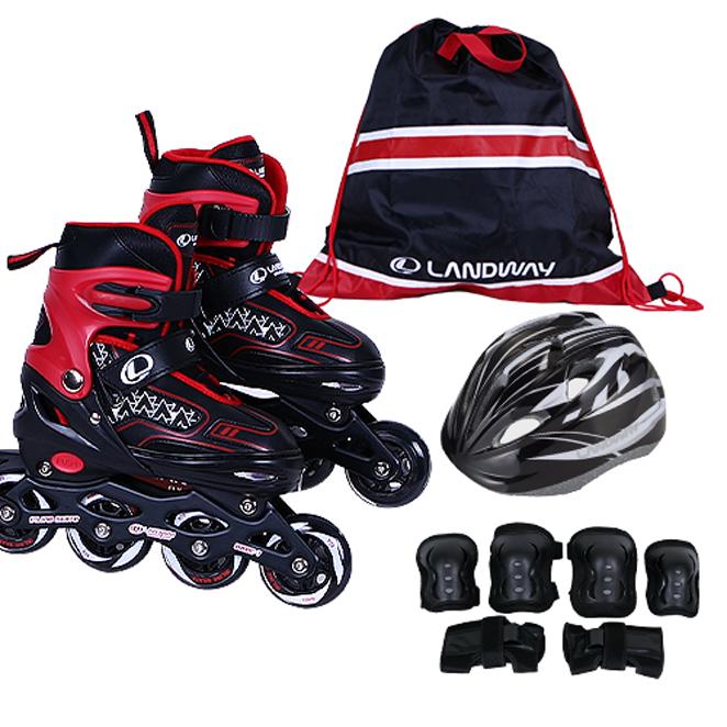 랜드웨이 스피드2 풀세트 인라인 스케이트 + 헬멧 + 보호대 + 가방, 블랙