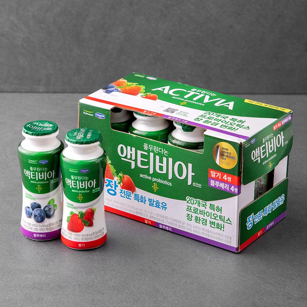 액티비아 병 딸기 x 4p + 블루베리 x 4p 세트, 130ml, 8병