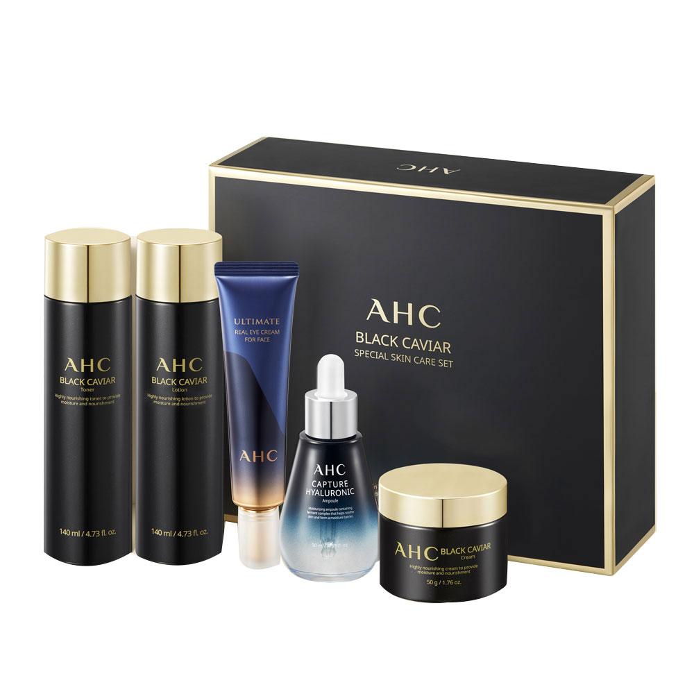 AHC 블랙 캐비어 스페셜 기초화장품 스킨케어 5종 세트, 1세트