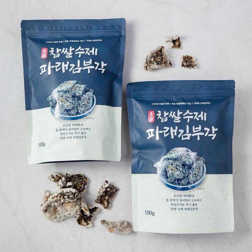 주일 국내산 찹쌀 수제 파래 김부각, 100g, 2개