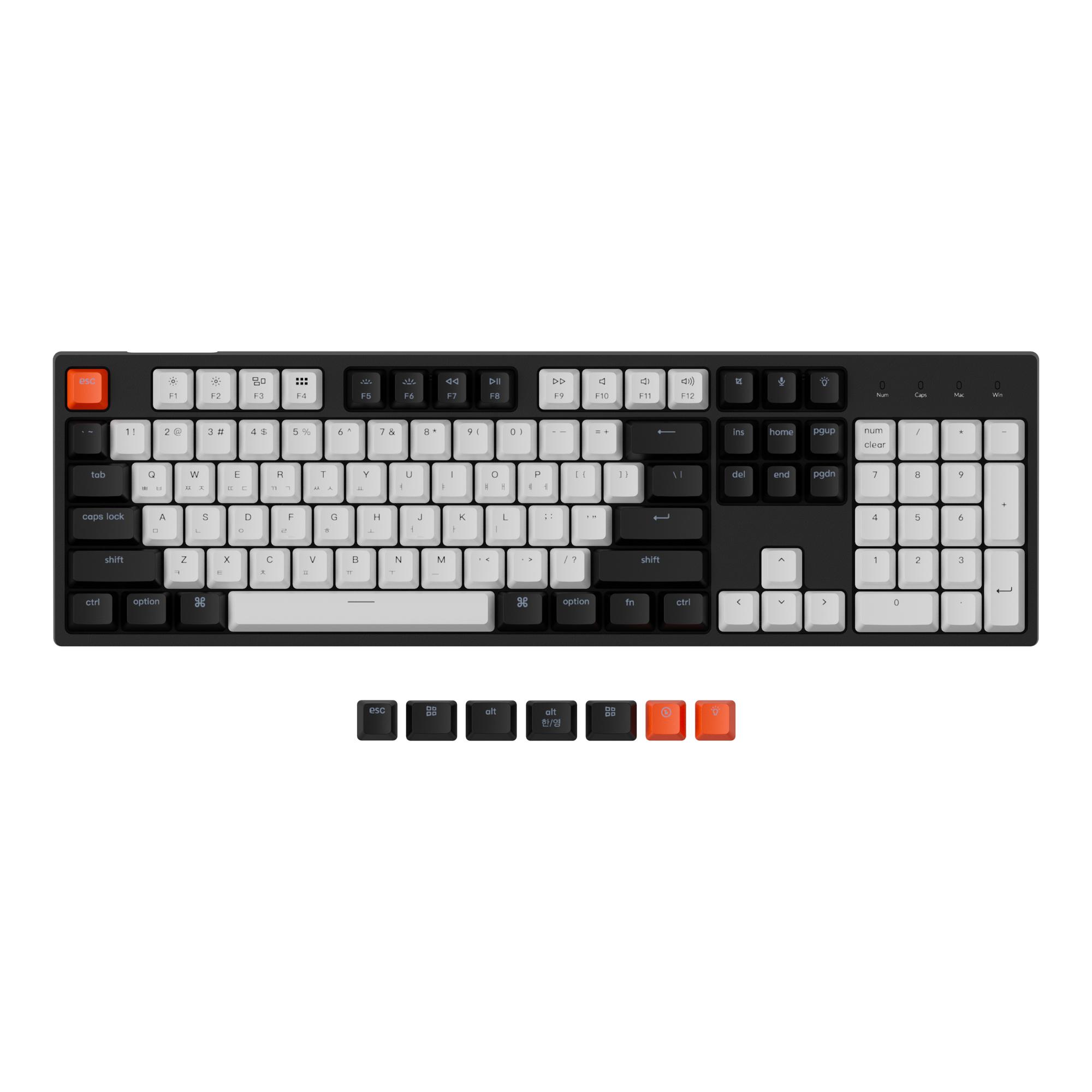 키크론 RGB 풀배열 유선 기계식키보드 적축, Black White(키캡), C2B1, 일반형