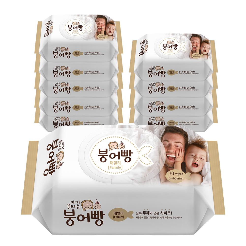 붕어빵 아기물티슈 패밀리 캡형 70매, 10팩, 1개입
